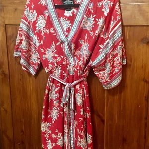 Angie Boho Red Floral Style Tunic